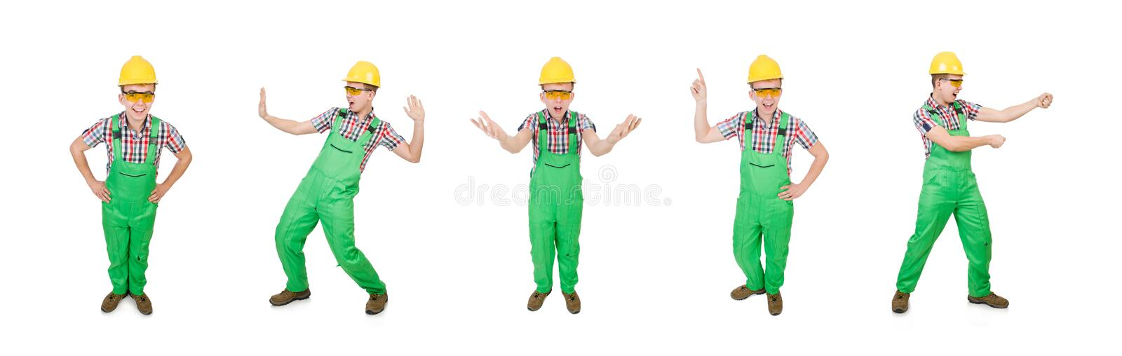 Industrial worker isolated on the white background stock images