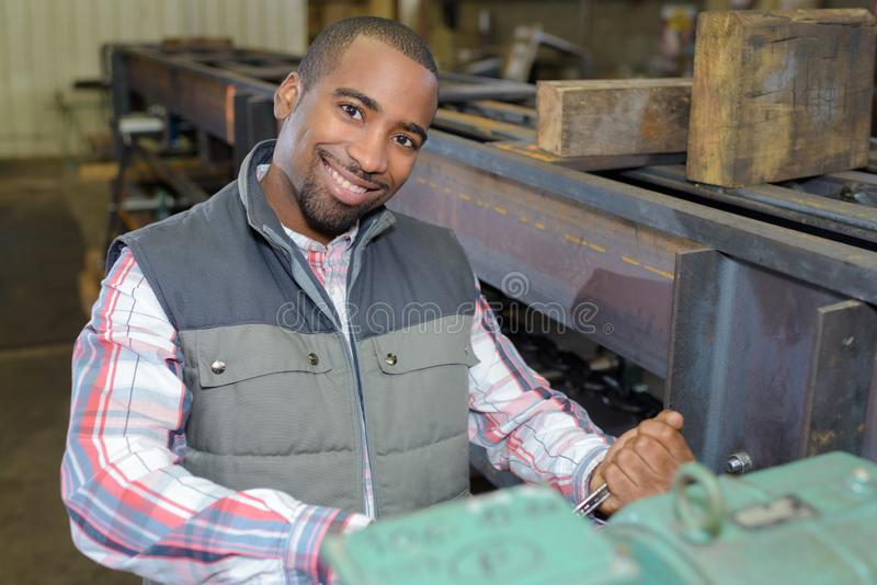 Industrial worker posing royalty free stock photo