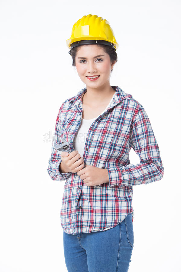 Industrial worker woman . Isolated, white background royalty free stock photography