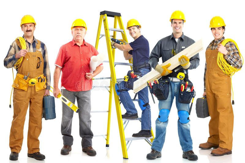 Industrial workers group. stock photo