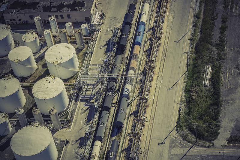 Industrial zone aerial view stock photo