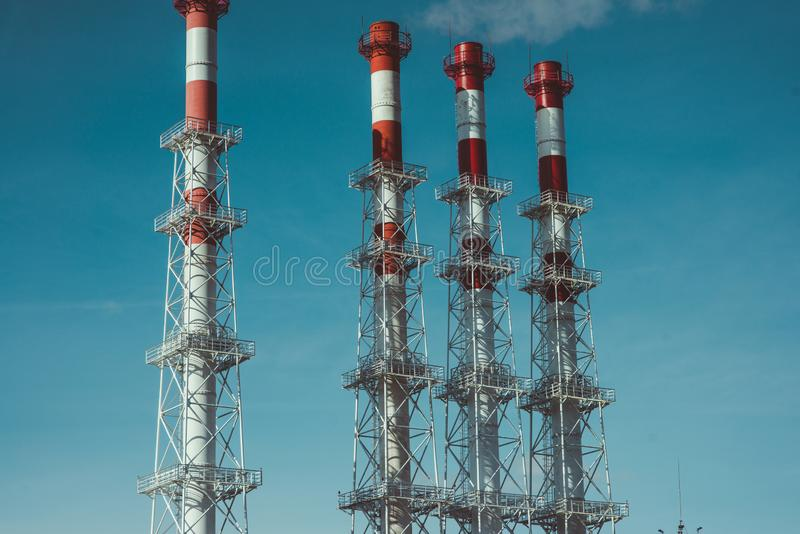 Industrial zone,The equipment of oil refining,Close-up of industrial pipelines of an oil-refinery plant stock photo