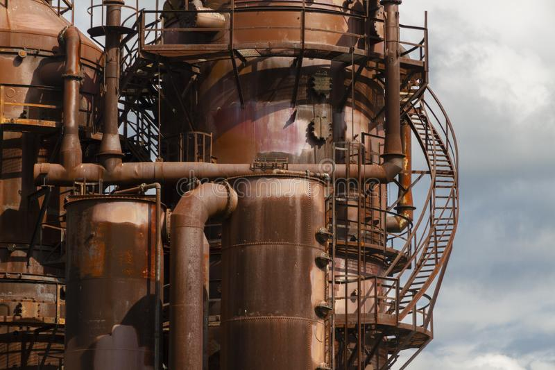 Close-up of industrial pipelines of an oil-refinery plant stock images
