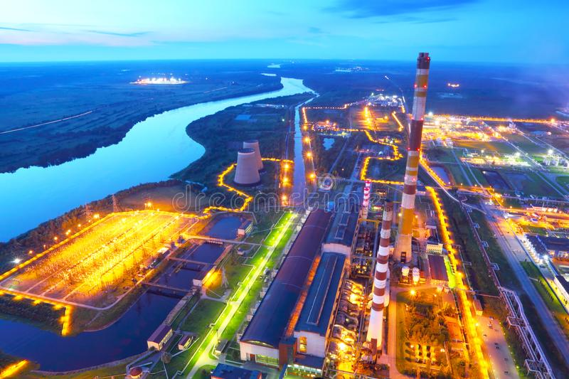 Industrial zone. Industrial factory.The top view. stock photos