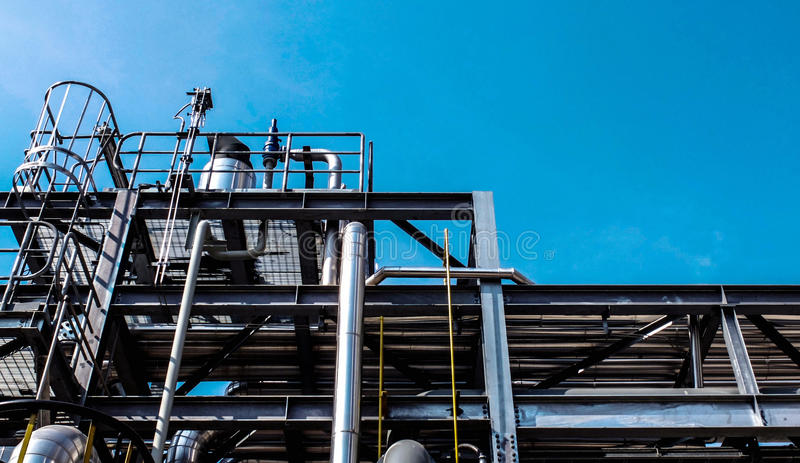 Download Industrial Zone, Steel Pipelines And Cables In A Plant Stock Image - Image: 40101611