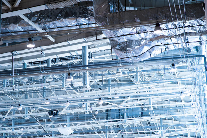Industrial zone, Steel pipelines and equipment royalty free stock photography