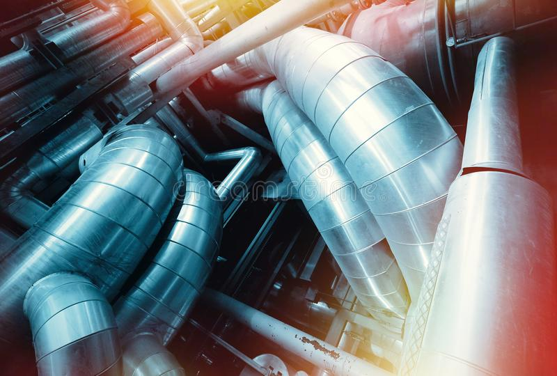 Industrial Steel pipelines, valves and ladders royalty free stock image