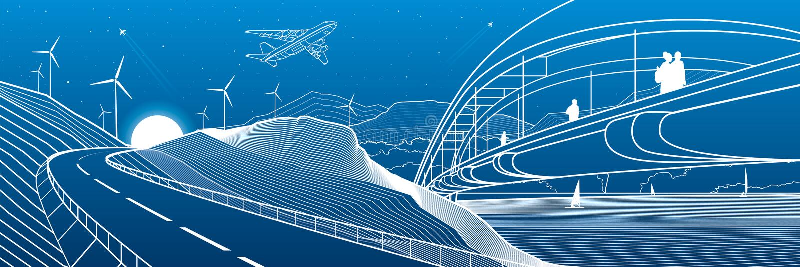 Industriale dell'infrastruttura della città e panorama dell'illustrazione del paesaggio La gente cammina attraverso il ponte del  illustrazione vettoriale