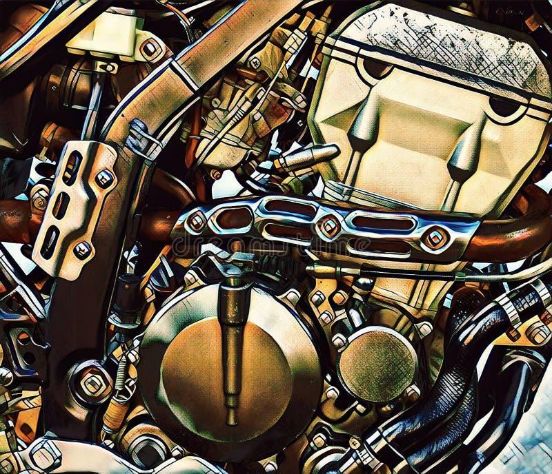 Industriale o fondo del meccanismo del robot Motore moderno della motocicletta Illustrazione digitale del dettaglio d'annata del  illustrazione vettoriale