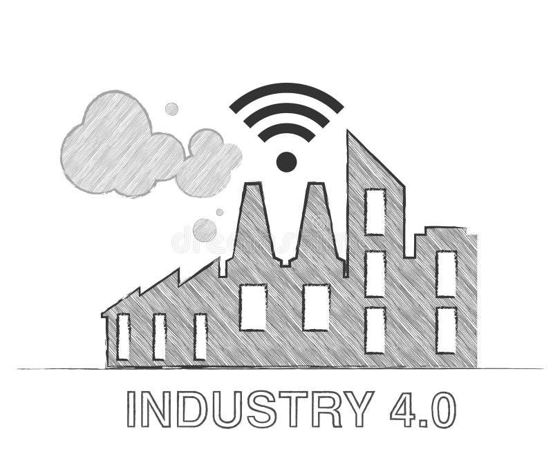 4 industriales 0 conceptos de sistemas físicos cibernéticos stock de ilustración