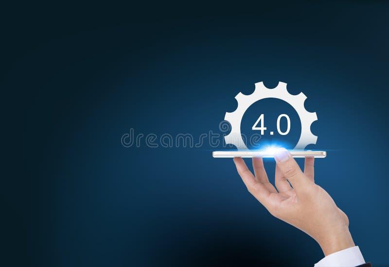 4 industriales 0 conceptos de sistemas físicos cibernéticos, engranajes industry4 ilustración del vector