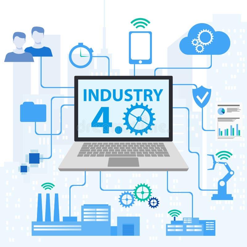 4 industriales 0 conceptos de sistemas físicos cibernéticos, iconos de Infographic de la industria 4 libre illustration