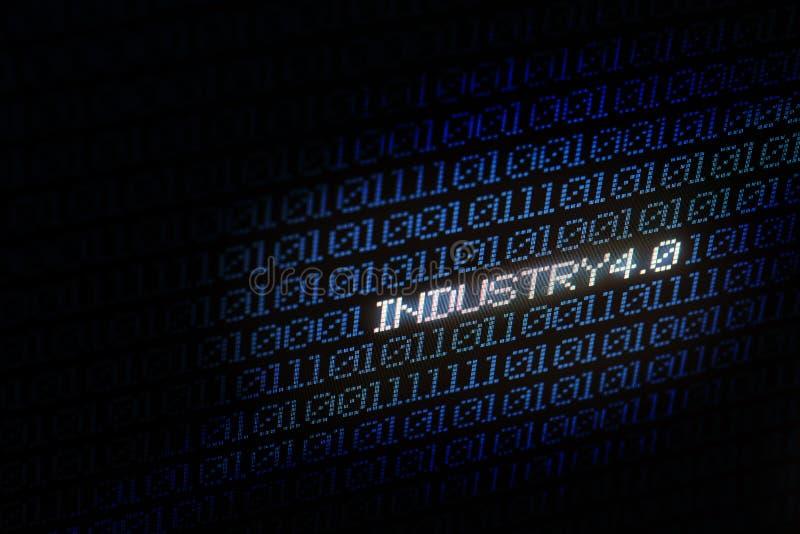 4 industriali 0 bacgkground digitali blu della matrice Fondo e concetto astratti di tecnologia Connessione di rete e Internet ast immagine stock