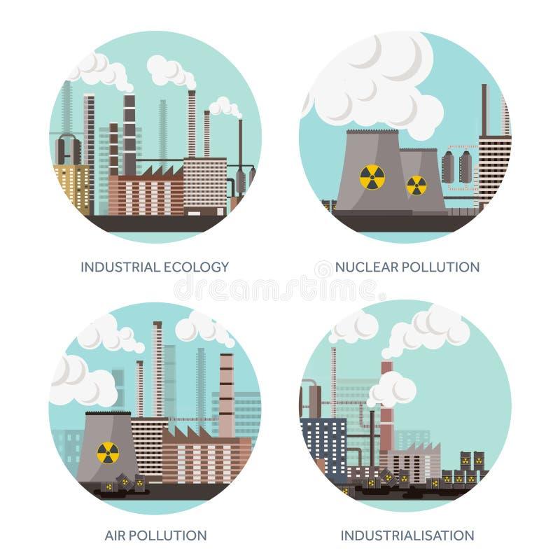 Industrialisation för vektorillustrationurbanisation industriell rotation rør förorening för fabrik för luftbakgrund blå Fossila  vektor illustrationer