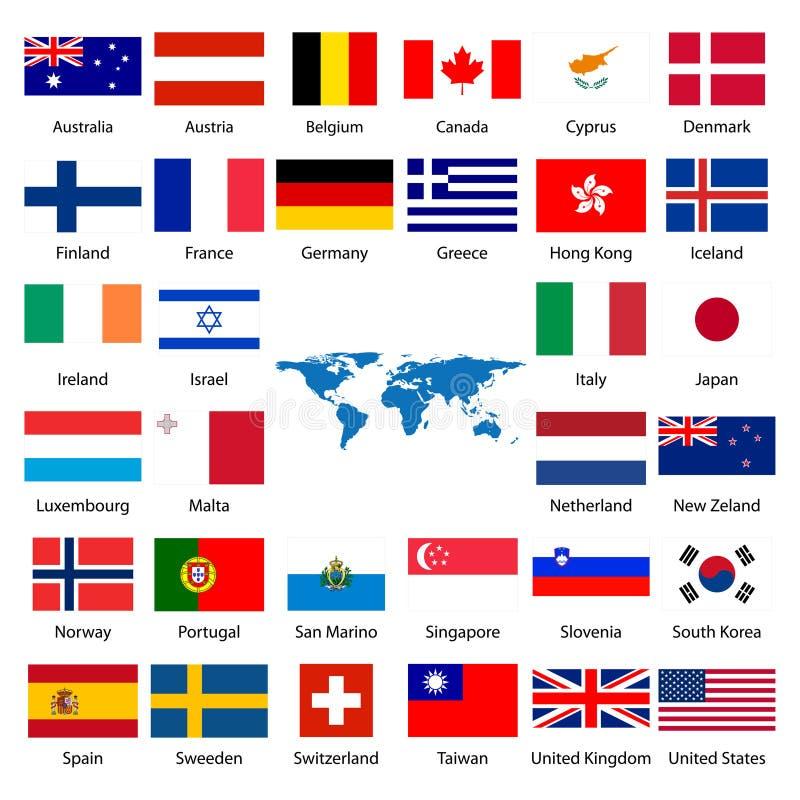 industrialized flagga för land 32 royaltyfri illustrationer