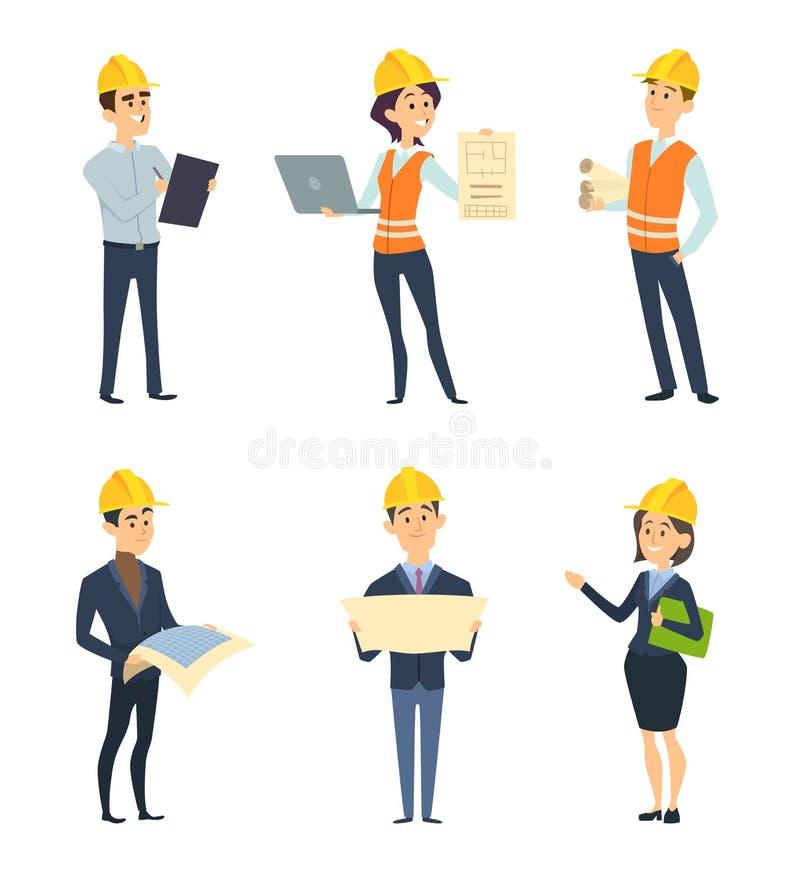 Industriarbetare Manlig och kvinnlig arkitekt och teknik stock illustrationer