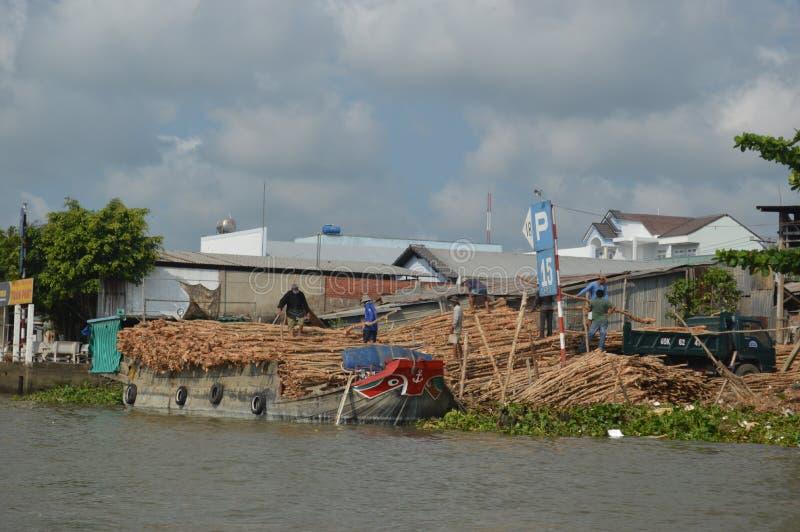 Industrias del río Mekong del delta de Vietnam - del Mekong - andamio de bambú imágenes de archivo libres de regalías