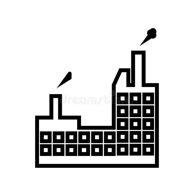 Industribyggnad med tecknet och symbol för föroreningssymbolsvektor som isoleras på vit bakgrund, industribyggnad med stock illustrationer