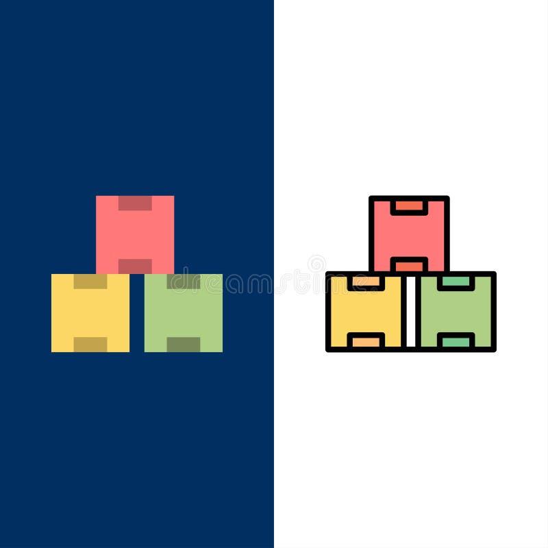 Industrie, actions d'industrie, production, icônes courantes L'appartement et la ligne icône remplie ont placé le fond bleu de ve illustration stock