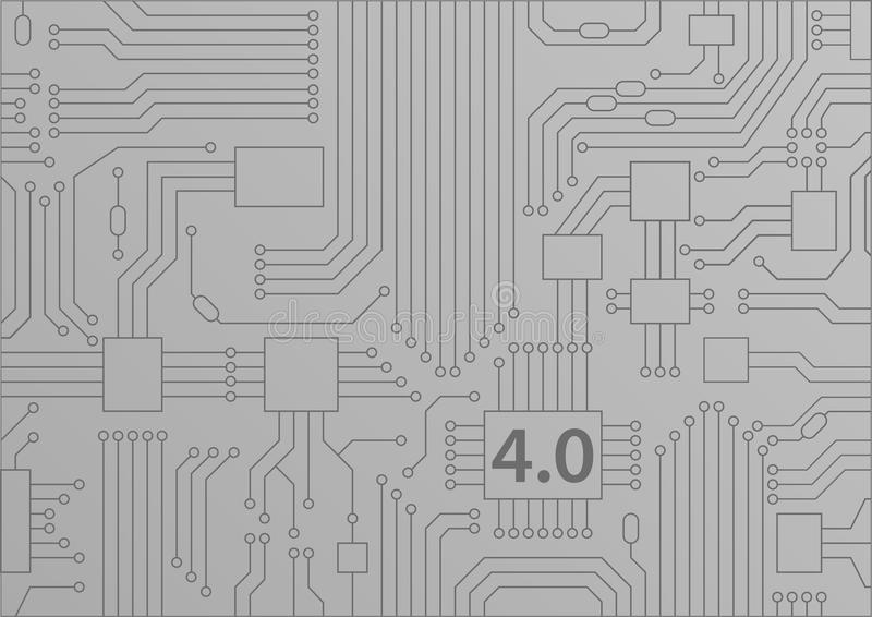 Industrie 4 0 concepts comme fond avec l'illustration de la carte/unité centrale de traitement illustration libre de droits