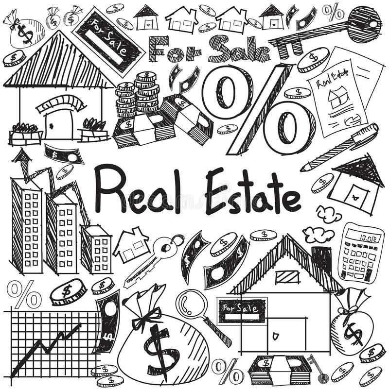 Industrie d'entreprise immobilière et griffonnage d'écriture d'investissement illustration de vecteur
