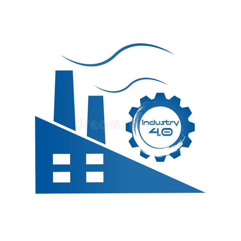 Industrie 4 0 dans la vitesse spirale avec le bâtiment d'usine Affaires illustration de vecteur