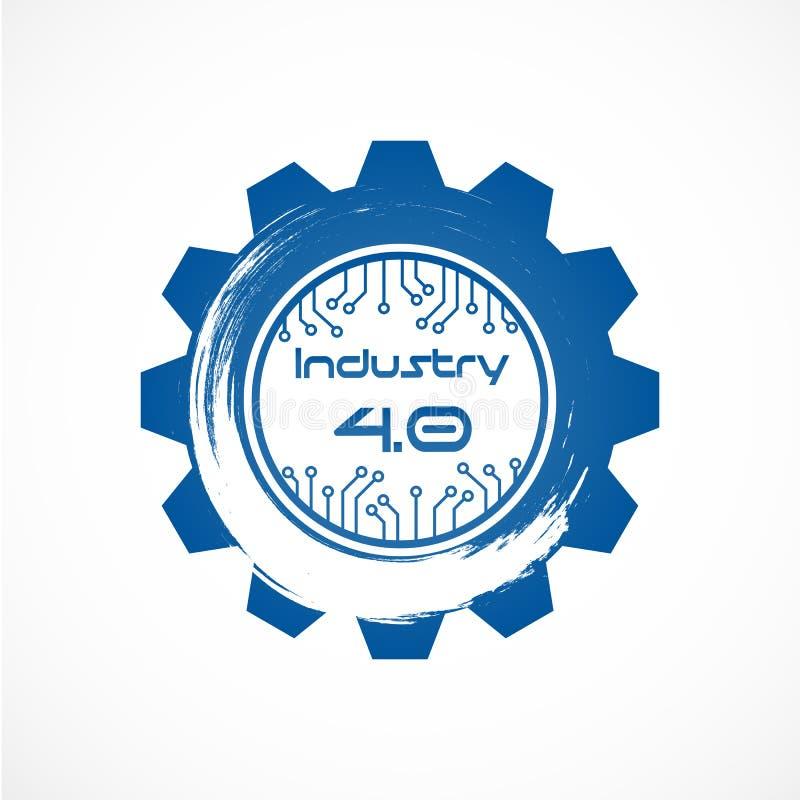 Industrie 4 0 dans la vitesse spirale avec la ligne système de point Affaires et illustration de vecteur