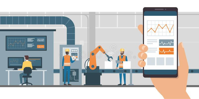 Industrie 4 0 en controle app stock illustratie