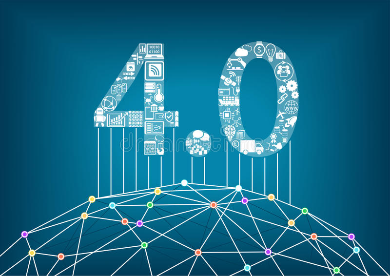 Industrie 4 0 en industrieel Internet van dingenconcept met illustratie van een verbonden digitale wereld stock illustratie