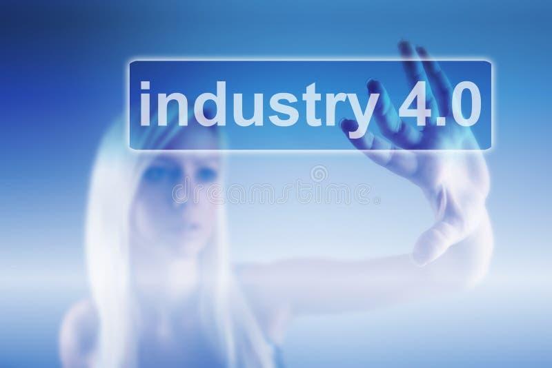 Industrie 4 0 fonds de concept, de femme et de robot image libre de droits
