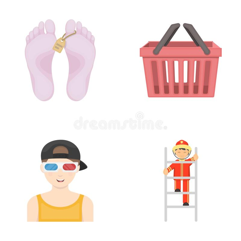 Industrie, handel, vermaak en ander Webpictogram in beeldverhaalstijl brandweerman, het werk, brandpictogrammen in vastgestelde i stock illustratie