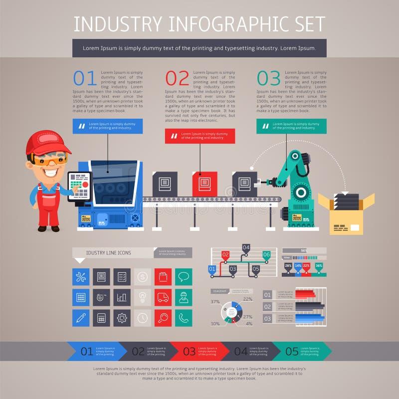 Industrie Infographic met Fabriekstransportband die wordt geplaatst en vector illustratie
