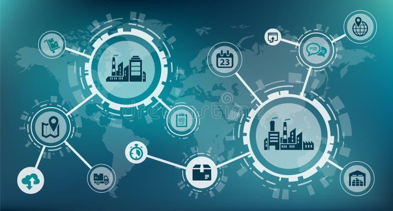 Industrie 4 0 / intelligentes Fabrik-/Digitalisierungskonzept: Prozessautomatisierungs- und Datenaustausch zwischen Produktionsge stock abbildung