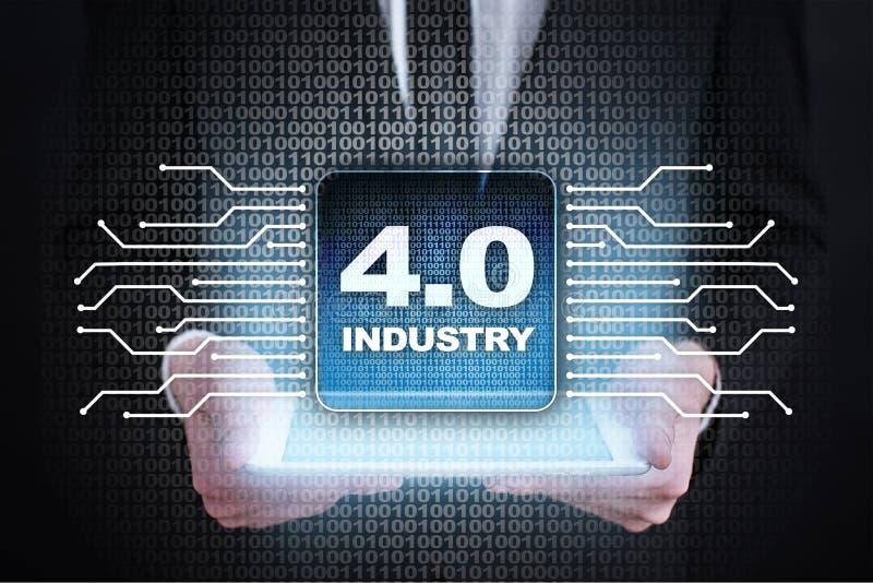 Industrie 4 IOT Internet van Dingen Slim productieconcept Industriële 4 0 procesinfrastructuur Achtergrond royalty-vrije stock foto's