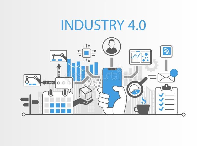 Industrie 4 0 Konzept mit der Hand, die freies intelligentes Telefon der modernen Einfassung hält vektor abbildung