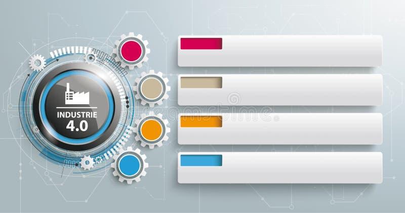 Industrie 4 Kugghjul 0 flikar för 4 stycken vektor illustrationer