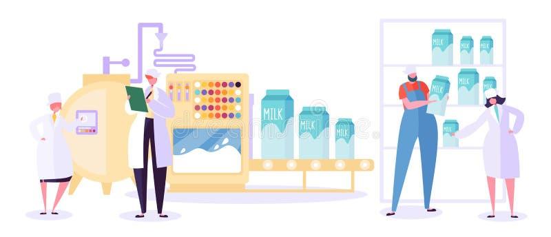 Industrie-Linie Sammlung der Milch-landwirtschaftlichen Produktion Milchspeise-Maschinen-Betriebssatz Modernes Frauen-Charakter-T stock abbildung
