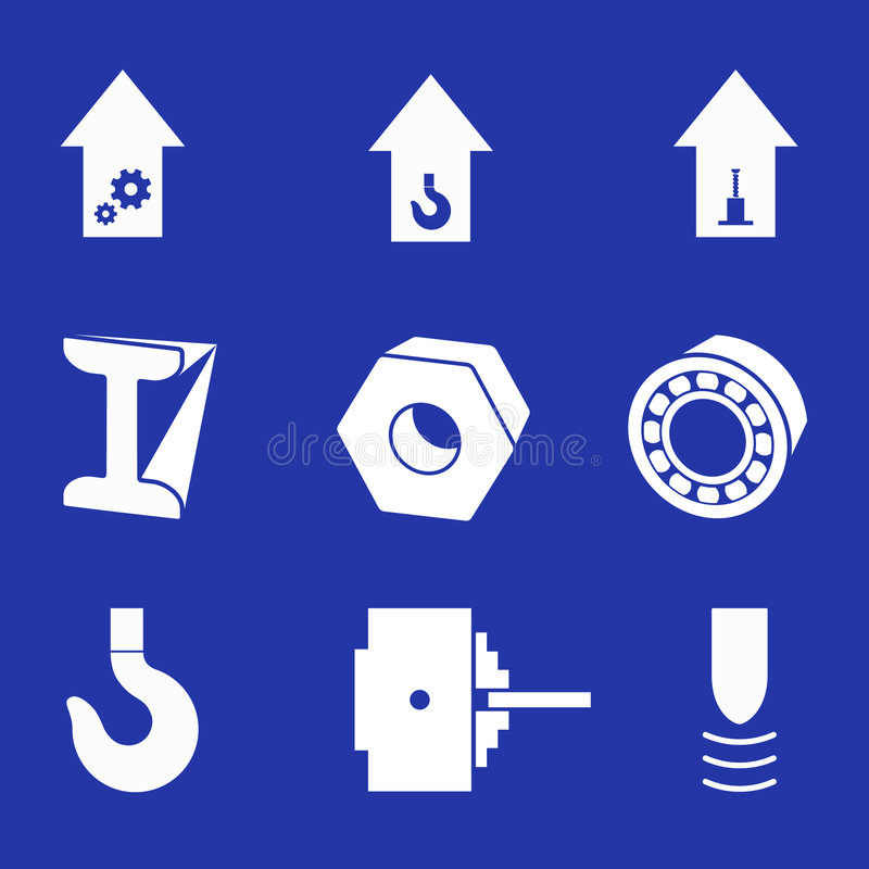Industrie lourd - un ensemble de pictogrammes de vecteur. illustration stock