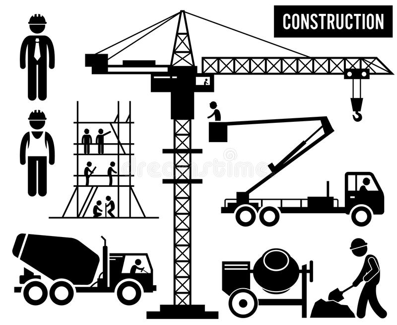 Industrie lourde Clipart de construction illustration stock