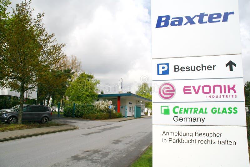 Industrie-Mitte, Halle, Deutschland, Baxter, evonik, Glas stockfotografie