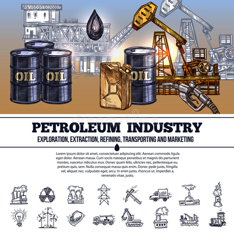 Industrie pétrolière Infographics illustration stock