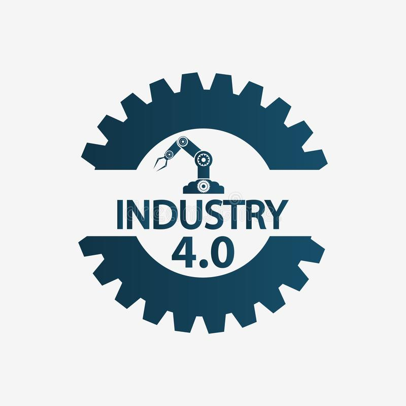 Industrie 4 0 pictogram, fabriek, technologieconcept Vector illustratie vector illustratie