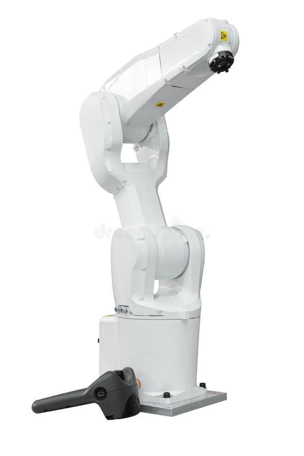 Industrie robotachtig met houders 3d aftasten op witte achtergrond wordt geïsoleerd die stock afbeeldingen