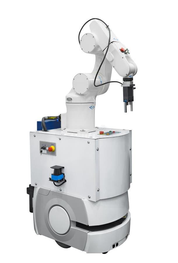 Industrie robotique mobile d'isolement sur le fond blanc avec le chemin photographie stock