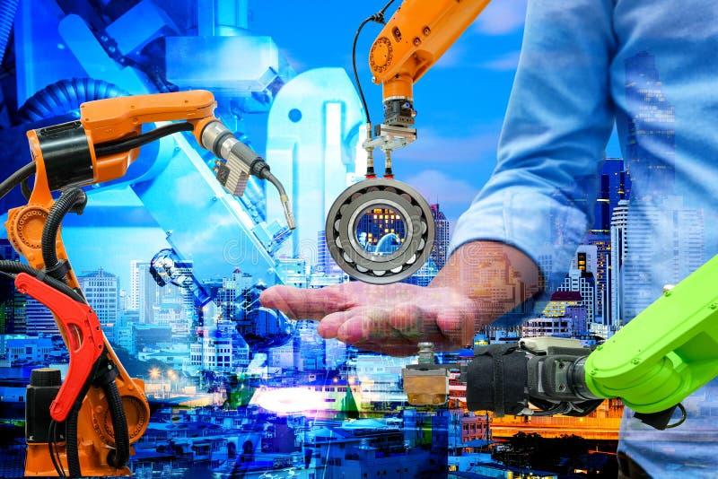 Industrie 4 0 und Geschäftsbaukonzept lizenzfreie stockfotos