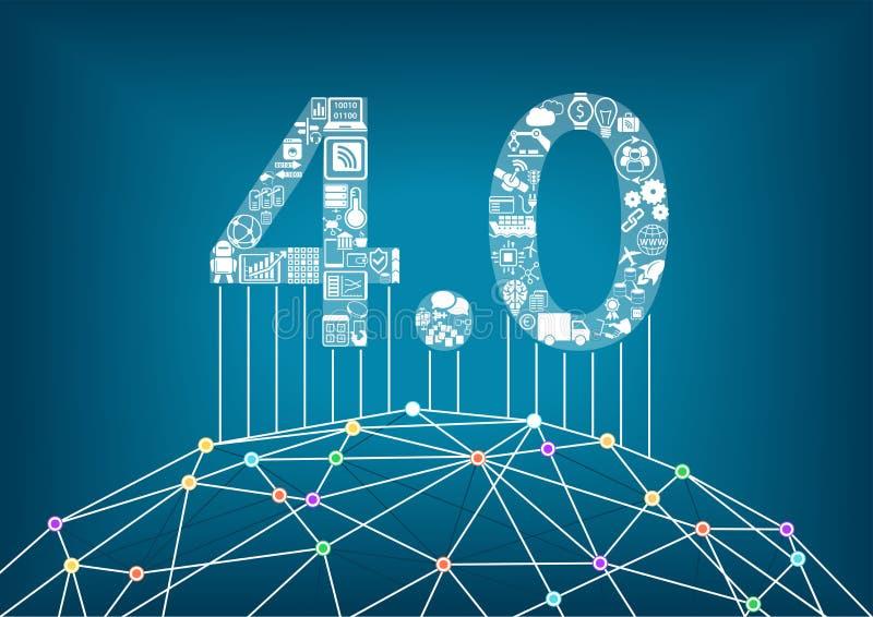 Industrie 4 0 und industrielles Internet des Sachenkonzeptes mit Illustration einer verbundenen digitalen Welt stock abbildung