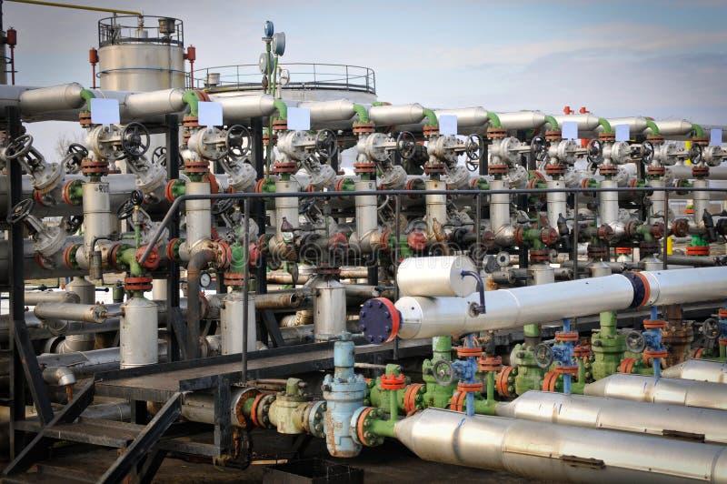 Industrie van olieraffinage en gas, stock afbeeldingen