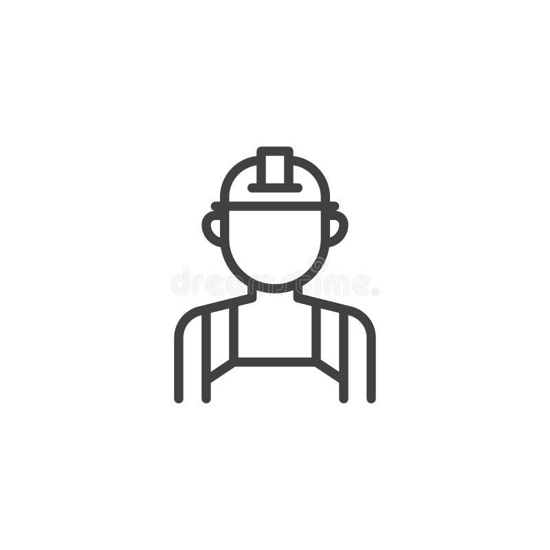 Industriearbeiterlinie Ikone stock abbildung