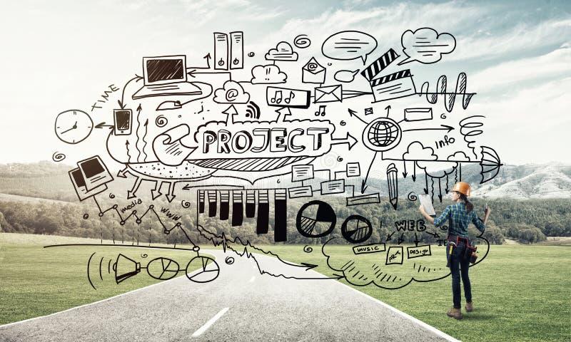 Industriebau und Wartung stockfotos