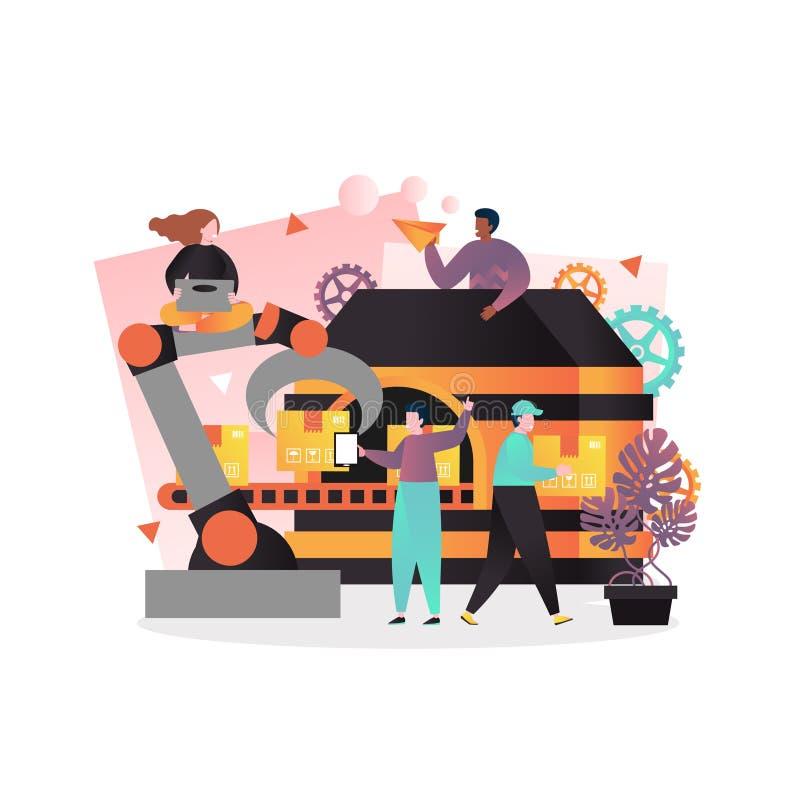 Industrieel automatiserings vectorconcept voor Webbanner, websitepagina vector illustratie